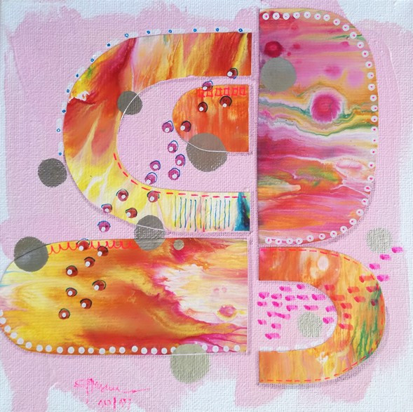 Sweet - soft pink mixed media artwork