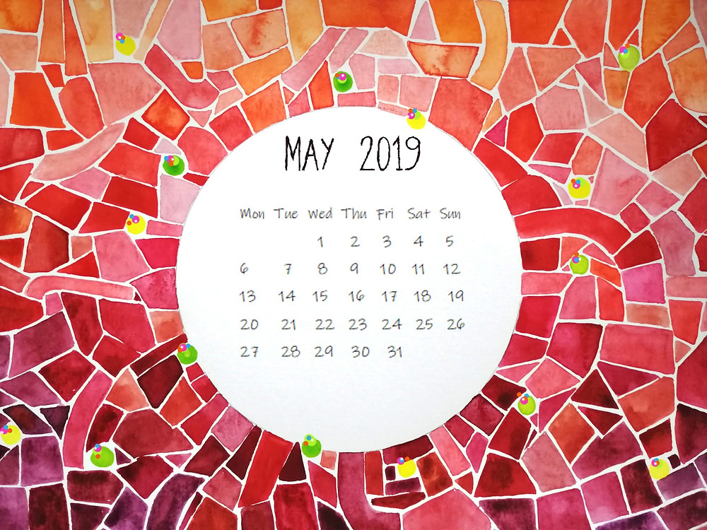 calendar may 2019 mosaic painting red watercolor