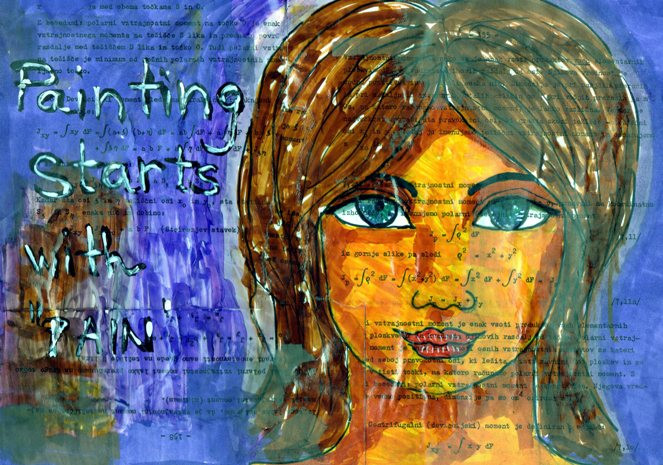 Painting starts with pain - art journal page