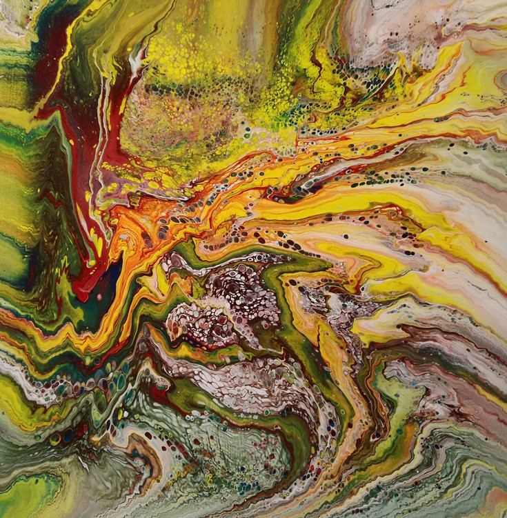 long story - dirty pour, abstract, kras arts