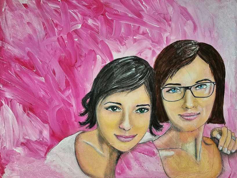 sisters portrait mixed media