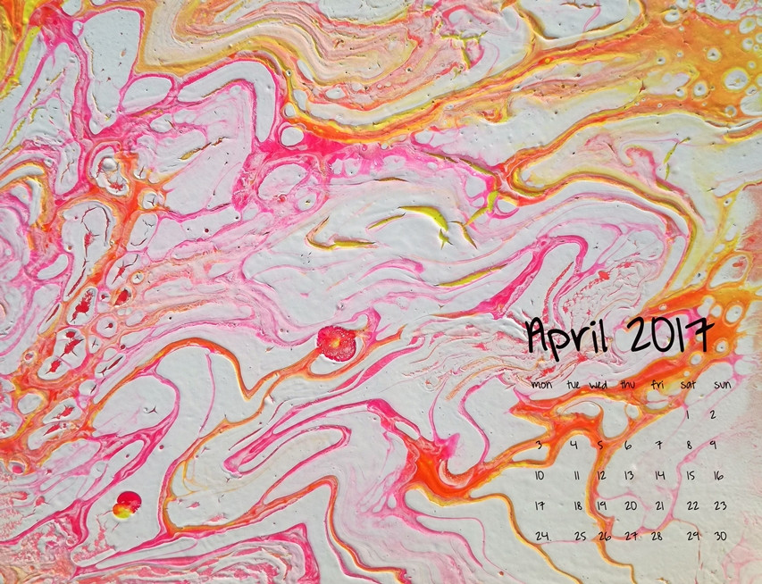 calendar for april 2017 fluid painting pink yellow and orange