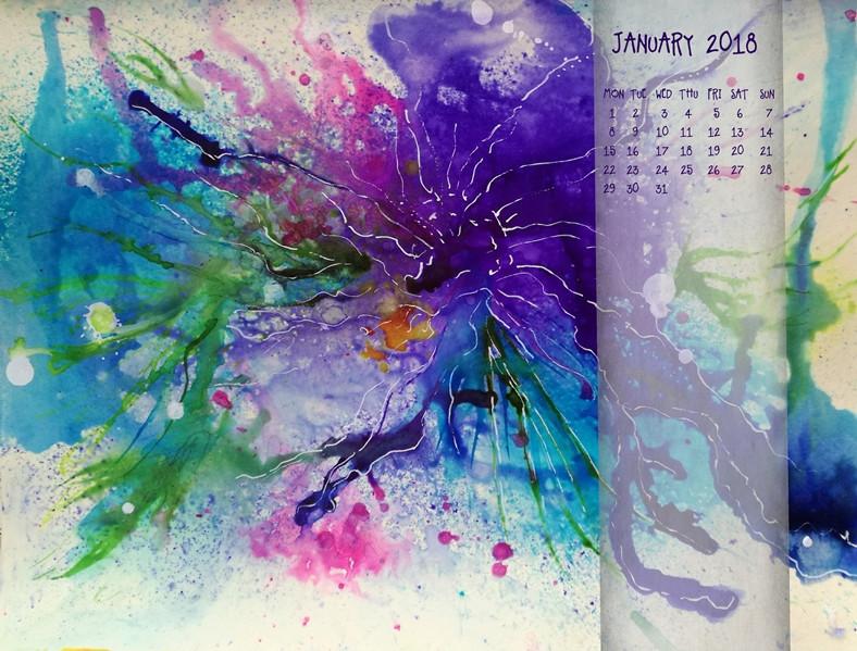 winter flower - mixed media artwork blue flower