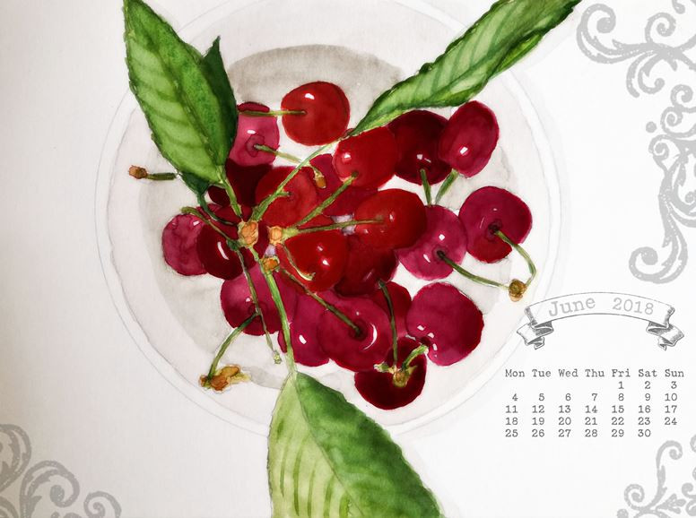 calendar for June 2018 desktop wallpaper cherries watercolor painting