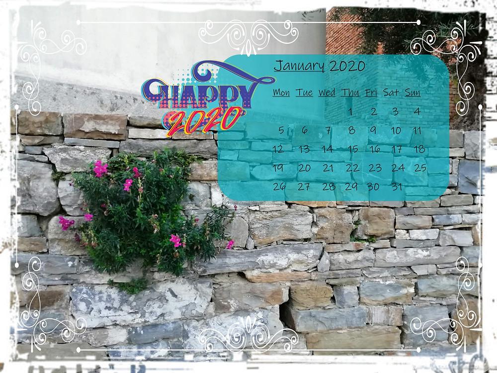 calendar january 2020 old stone wall