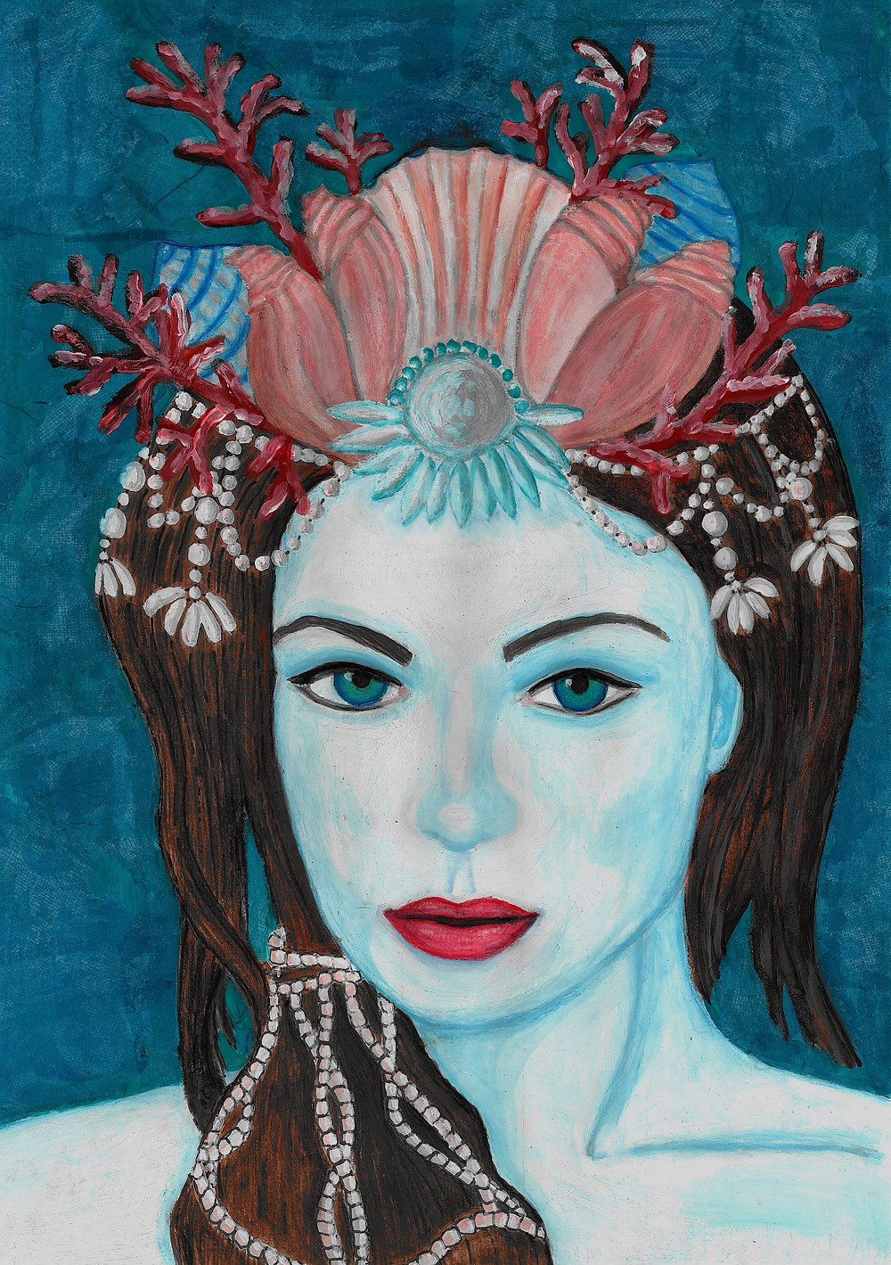 mermaid Jewel, blue faced girl with a shell crown
