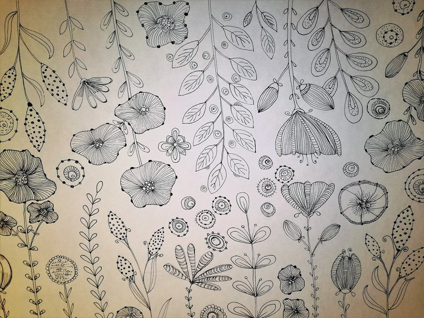 flowers drawing black on white