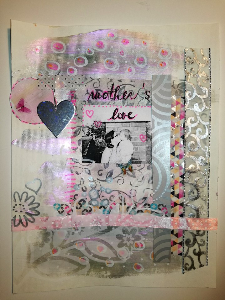 finished mixed media artwork - collage - Mother's love