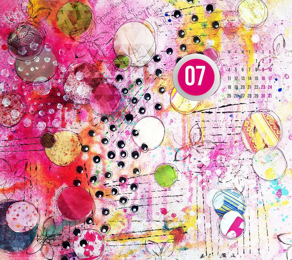 mixed media artwork desktop wallpaper calendar for july 2016