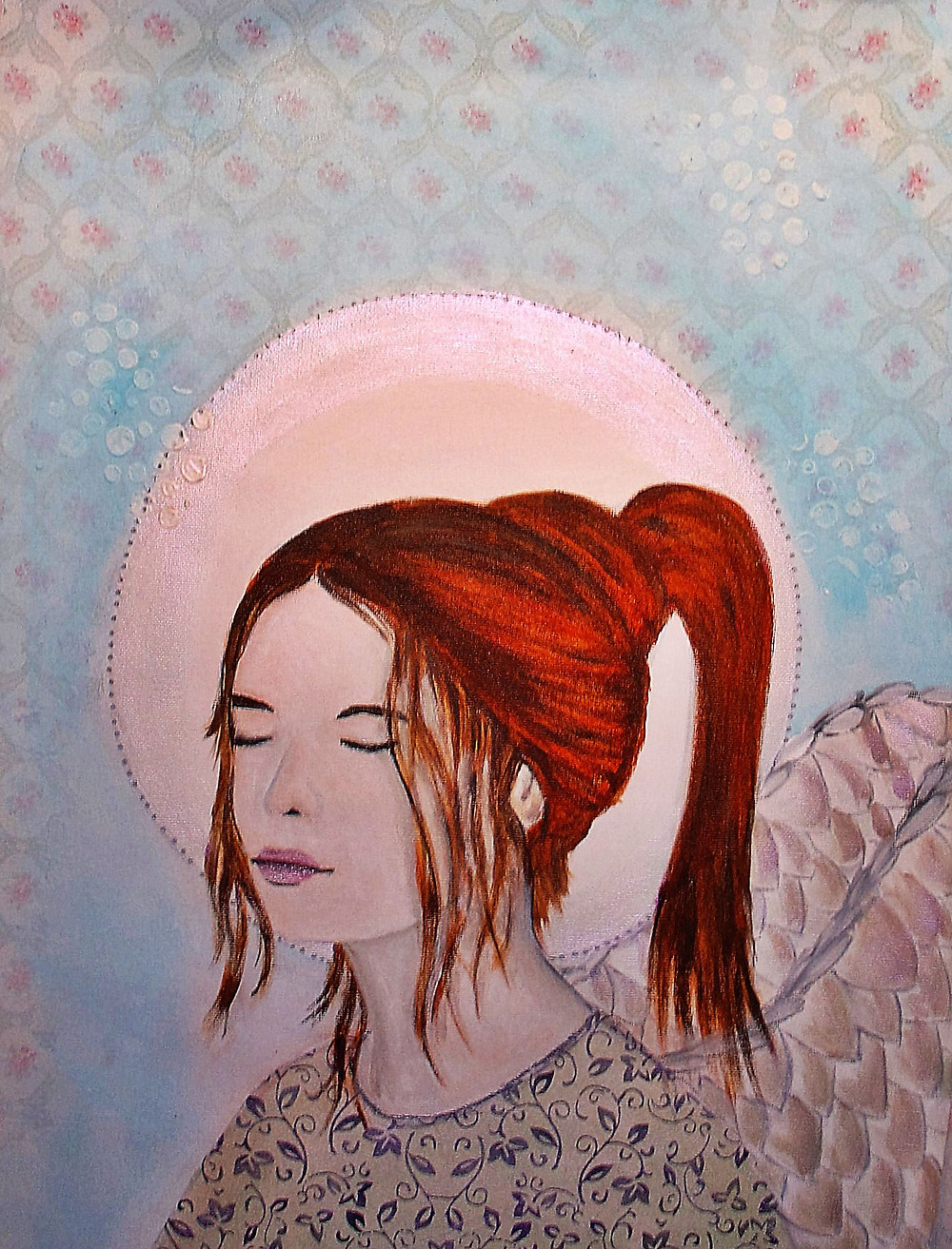 The Angels - Jane, a shy girl with eyes closed, copper hair, a halo and wings, pastel colours