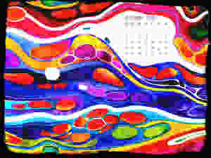 calendar september rainbow colors vivid cells detailed watercolor