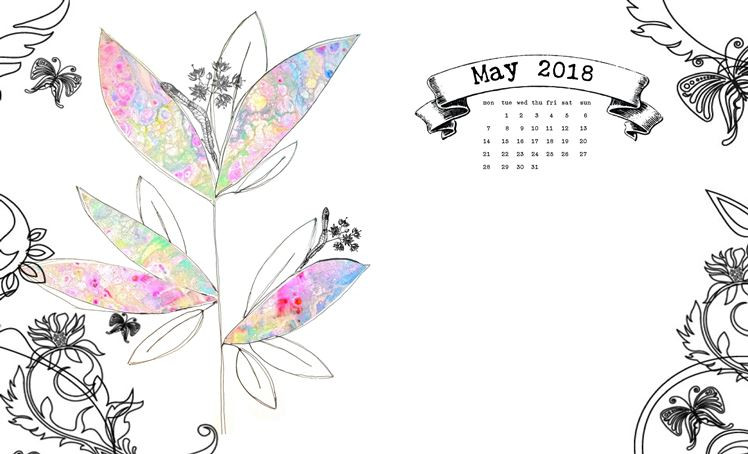 calendar for May 2018 - collage, ink, doodle, flower, butterfiles, pattern