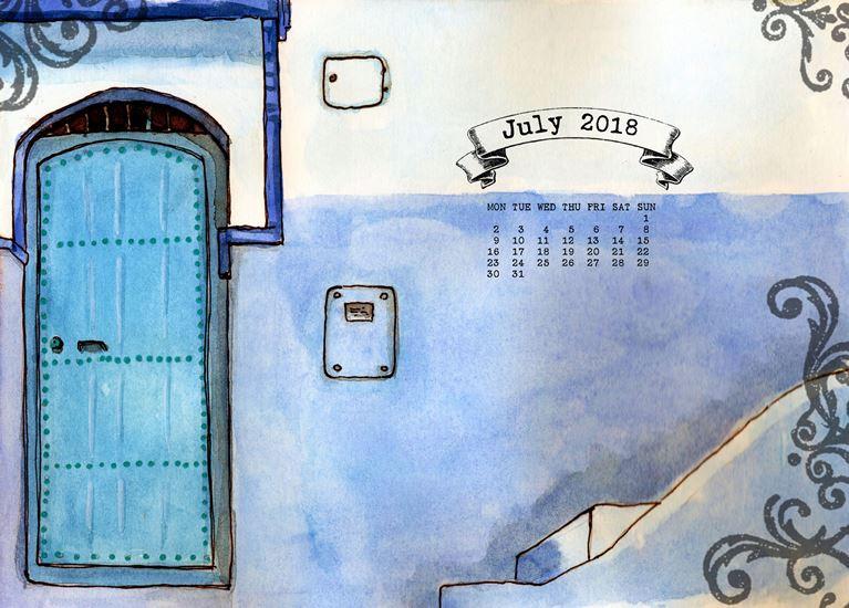 doors, blue door, morocco, summer, blue wall, July calendar