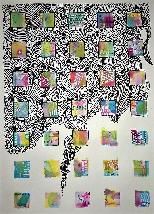 little squares mixed media artwork doodle zentangle
