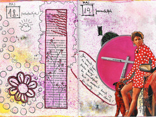 Art journal page with a magazine photo