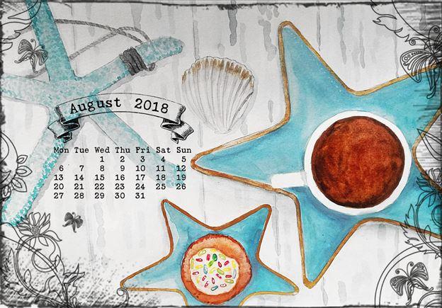 calendar for August 2018 coffee on the beach