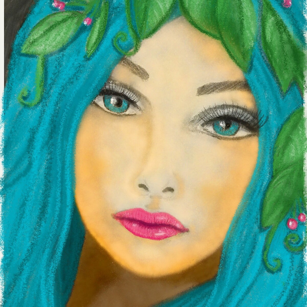 Leaf - a girl with a teal hair and leaf crown