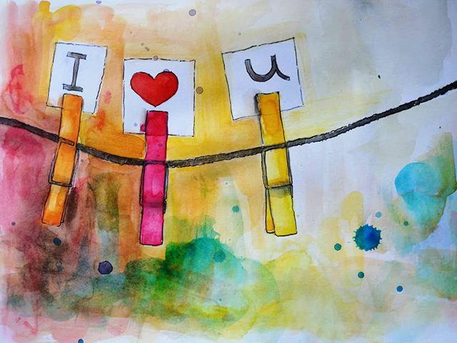 #artoftheday #iloveu #mixedmedia #i❤️u #