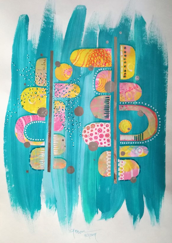 Candy Store - mixed media artwork vivid cute