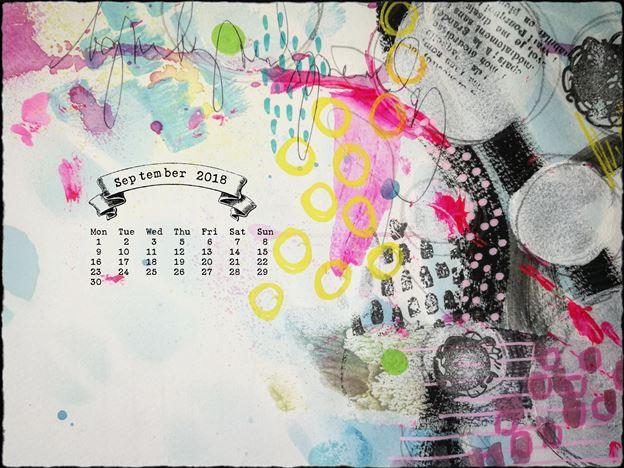 calendar September 2018 abstract art cute vivid desktop wallpaper