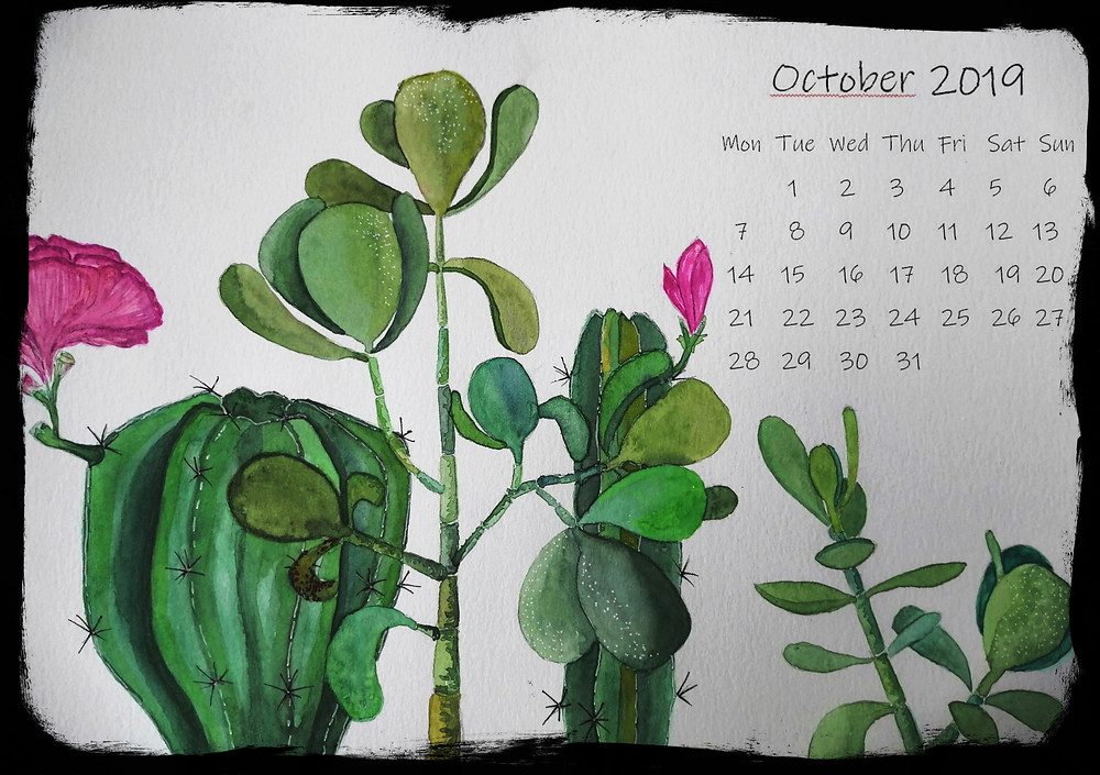 succulents calendar nature inspired october desktop free download