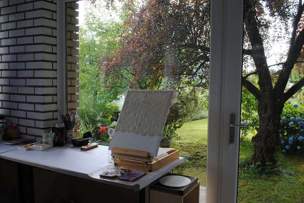 my art studio painting table