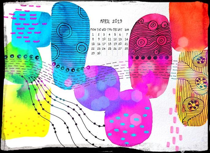 calendar for April 2019 - basic shapes rainbow colors doodles