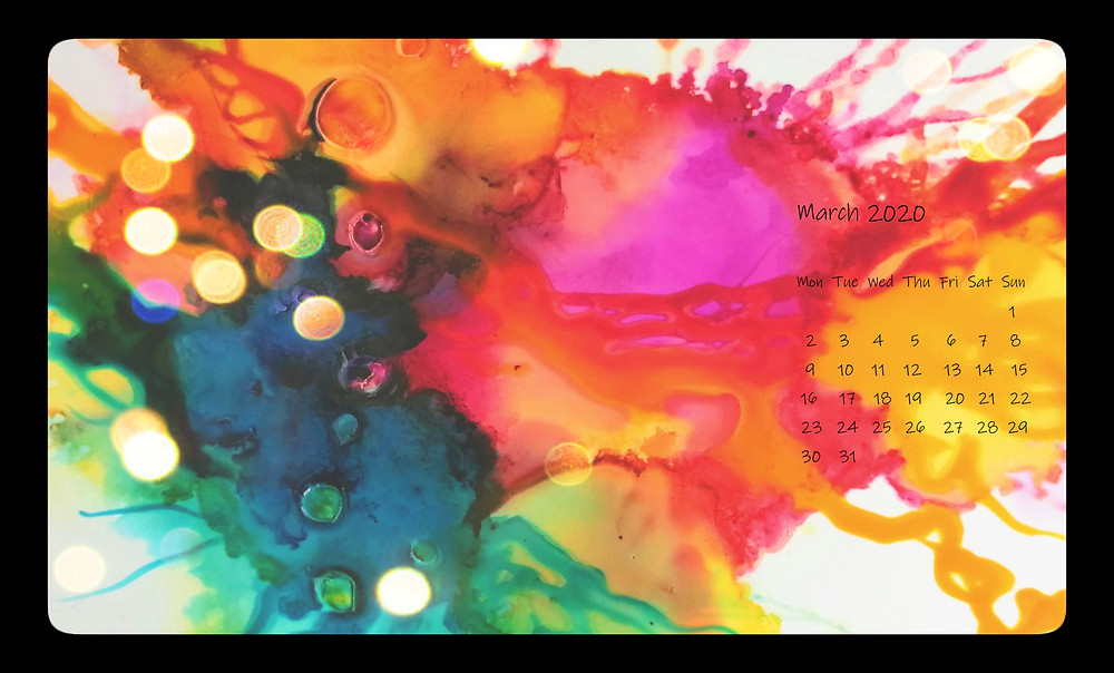 calendar march 2020 ink splatter pour abstract rainbow