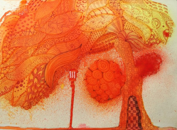 ink doodle tree orange street lamp zentangle