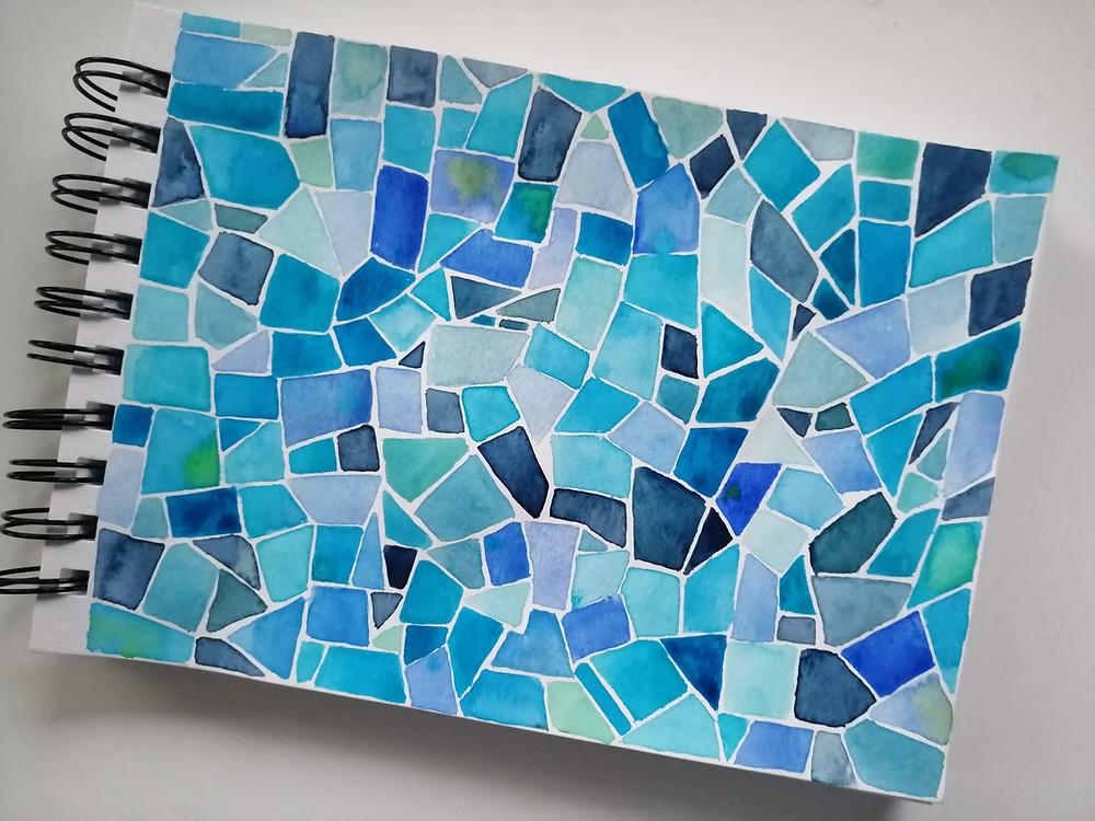 mosaic painting watercolors blue basic shapes
