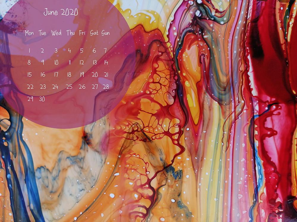 june calendar vivid marbling art abstract reds and yellows