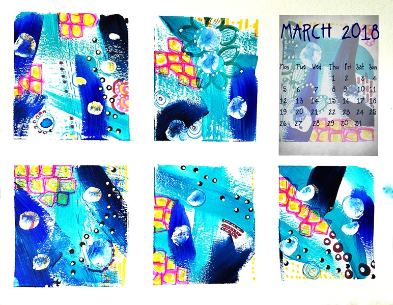 calendar for March 2018 blue, pink, squares, yellow, flowers