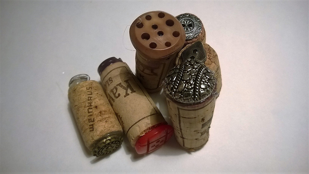 buttons glued on corks