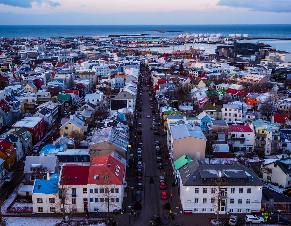 View of Reykjavik from the top of Hallgrímskirkja