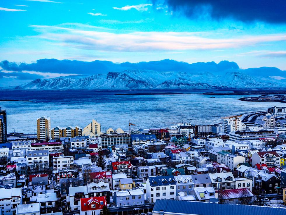 Reykjavik and Mount Esja from Hallgrímskirkja