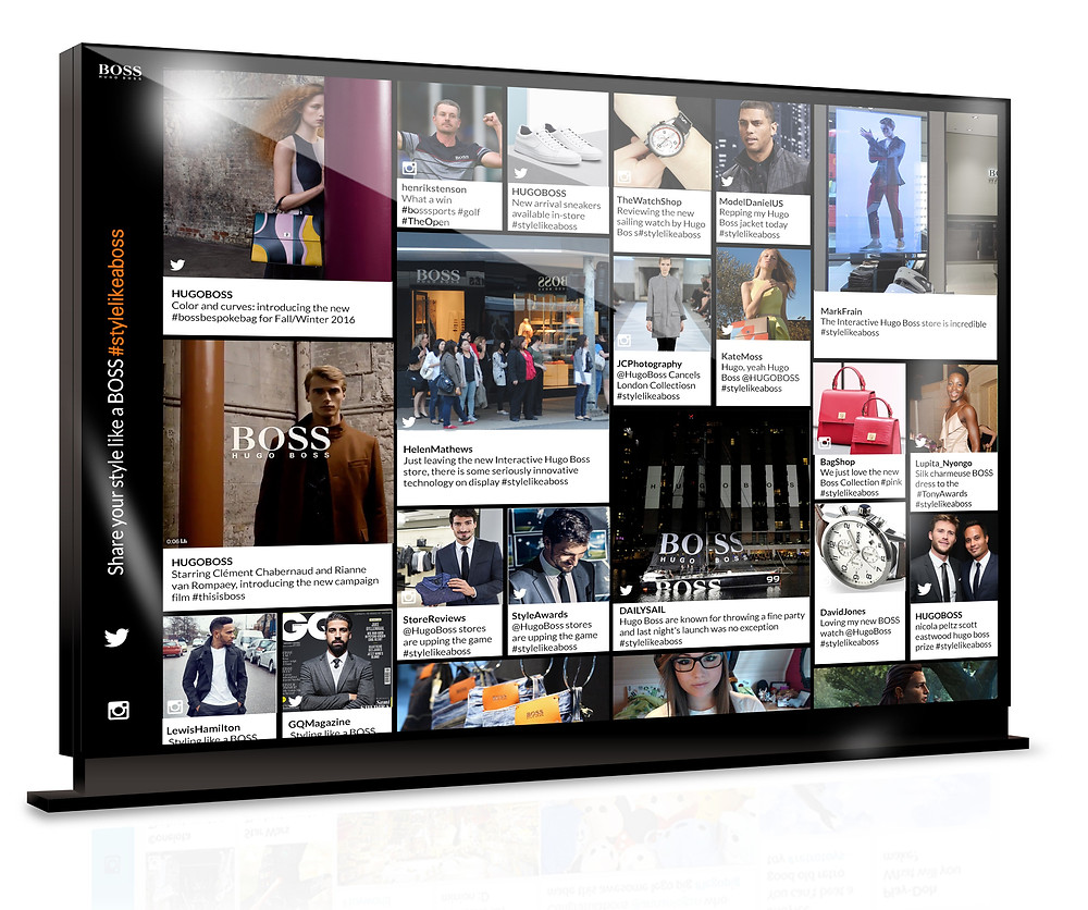 HUGO BOSS community wall, which aggregates user-generated content from social media platforms, developed by One iota Manchester