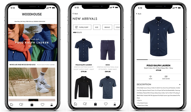 Woodhouse Clothing retail commerce apps