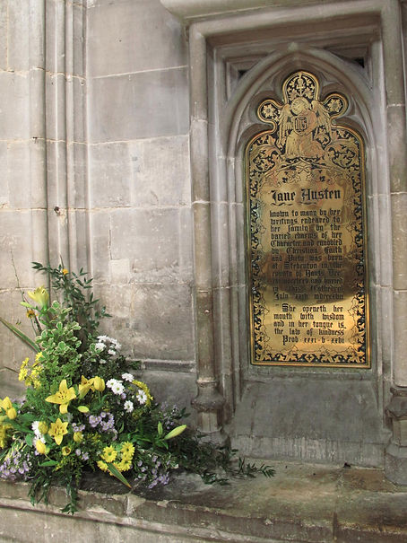 The plaque at Jane Austen's grave