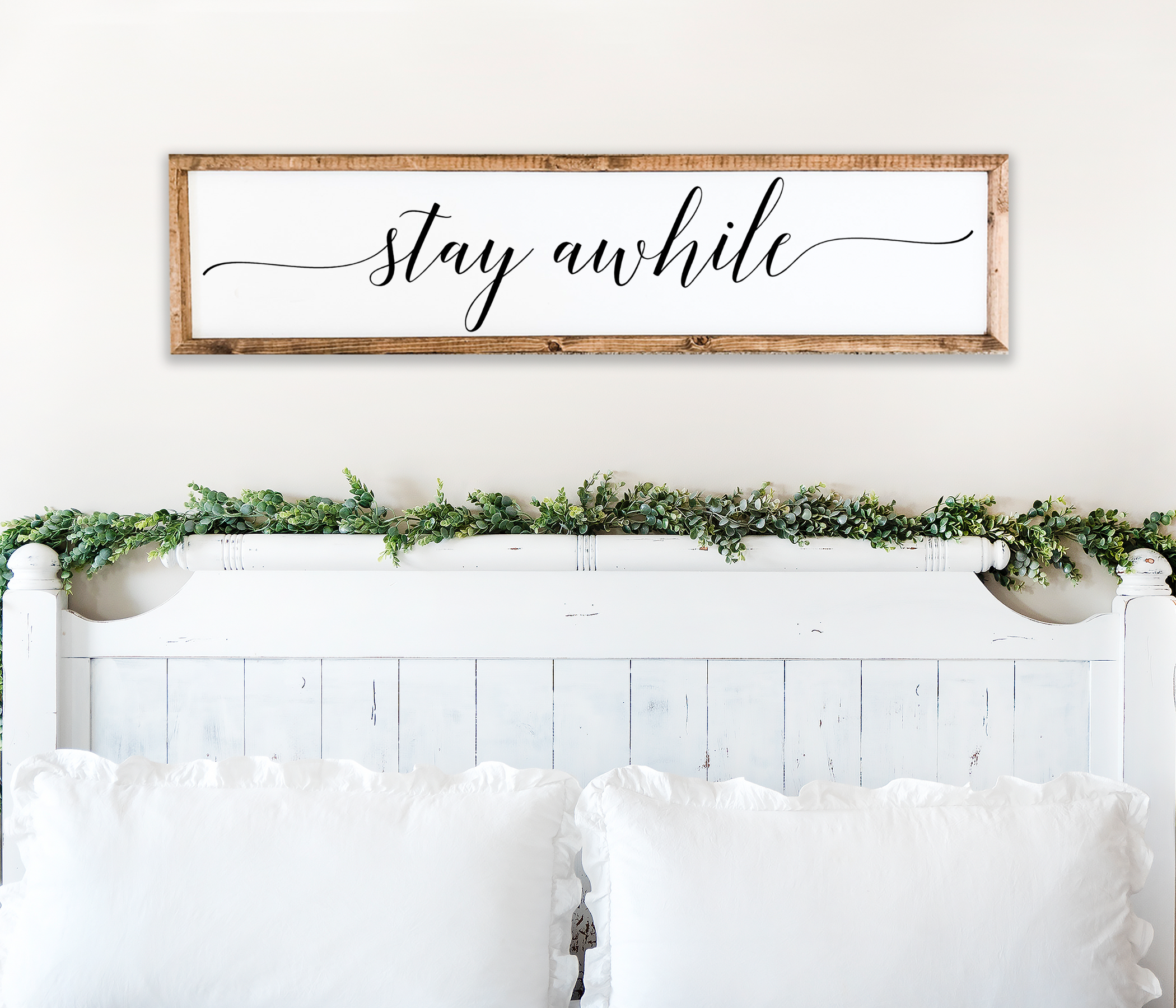 Stay Awhile Farmhouse Bedroom Wall Decor