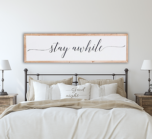 Stay Awhile Farmhouse Bedroom Decor.png