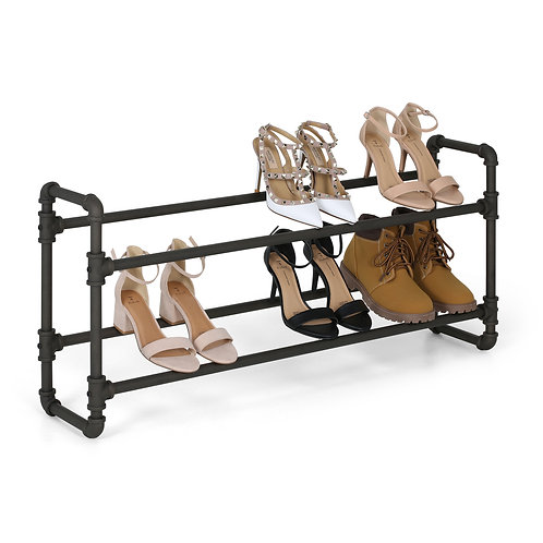 Real Home Innovations Modern Industrial Style 2 Tier Shoe Rack