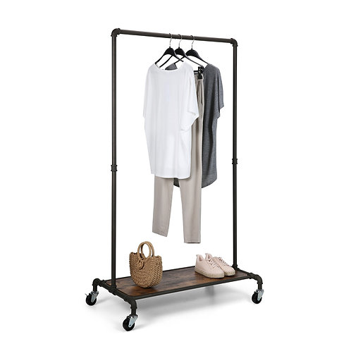 Real Home Innovations Modern Industrial Style Garment Rack w/ Wood Shelf
