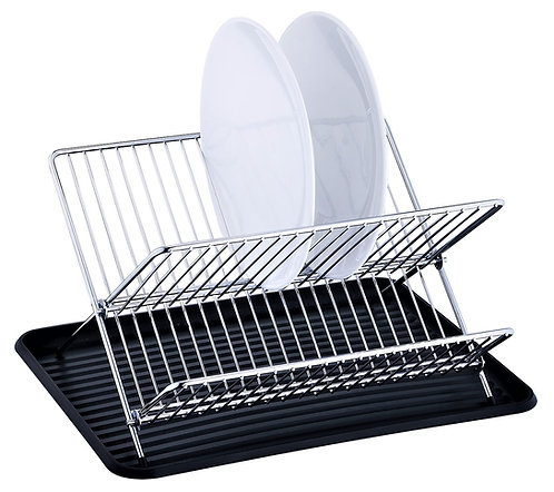 Real Home  Innovations Folding Chrome Dish Rack Set