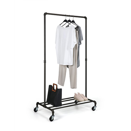 Real Home Innovations Modern Industrial Style Garment Rack with 4 Tube Shelf