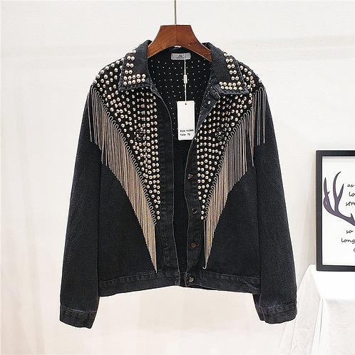 Black Denim Studded Jacket