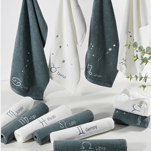 Embroidered Astrology FaceTowel