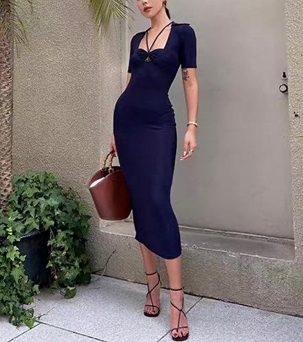 Knit Navy Midi Dress