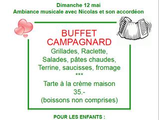 Fête des mères - sur réservation - Grand buffet campagnard 35.-