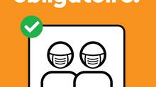 Buvette take-away et masque sur le site