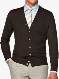 Suitsupply outlet sale: Suitsupply brown lightweight merino wool cardigan